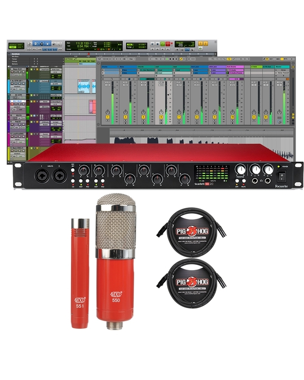Focusrite Scarlett 18i20 (2nd Gen) Pro Tools First Interface with MXL Microphone Set and XLR Cables