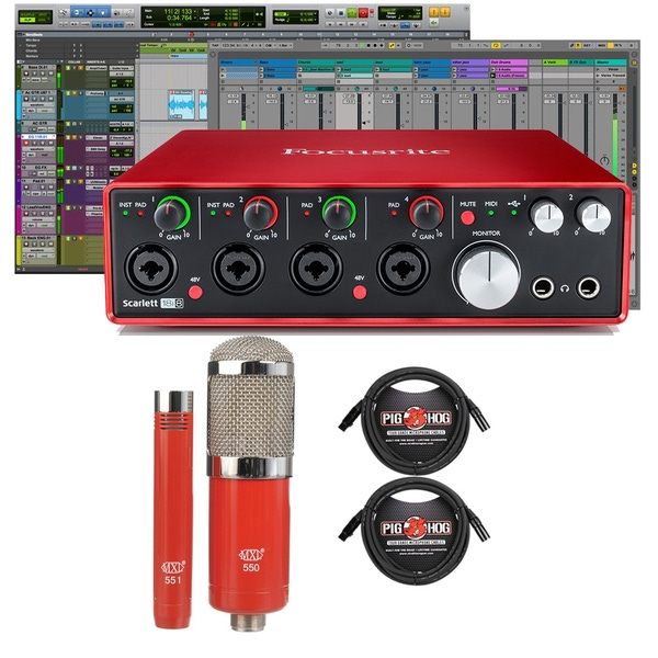 Focusrite Scarlett 18i8 (2nd Gen) Pro Tools First Interface with MXL Microphone Set and XLR Cables
