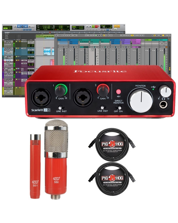 Focusrite Scarlett 2i2 (2nd Gen) Pro Tools First Interface with MXL Microphone Set and Cables
