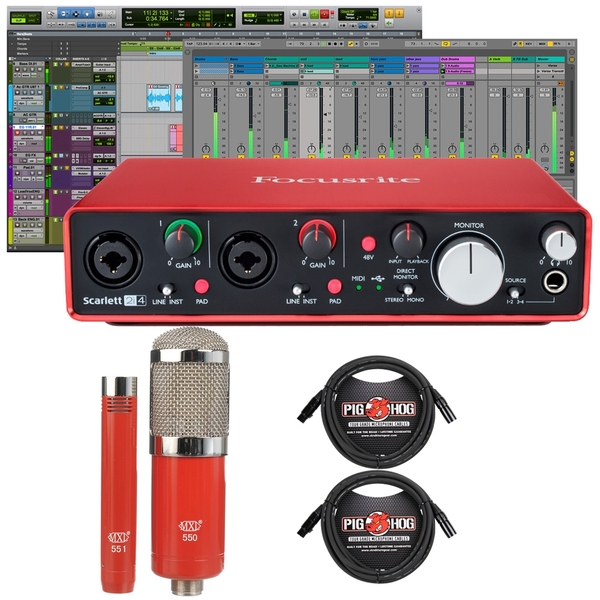 Focusrite Scarlett 2i4 (2nd Gen) Pro Tools First Interface with MXL Microphone Set and Cables