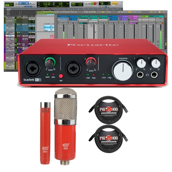Focusrite Scarlett 6i6 (2nd Gen) Pro Tools First Interface with MXL Microphone Set and XLR Cables