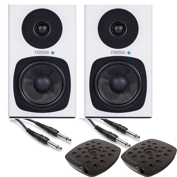 Fostex PM0.4d Speaker Monitor Pair in White with Ultimate Support Isolation Pads & Cables
