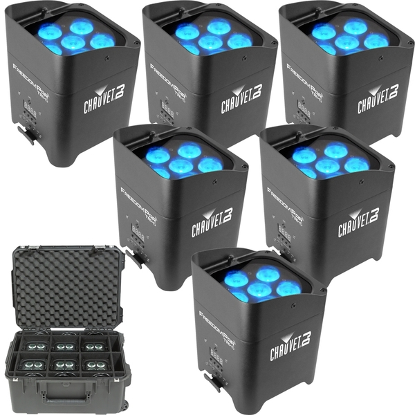 Chauvet Freedom Par Tri-6 Wireless Battery Powered RGB LED Par X 6 With Road Case