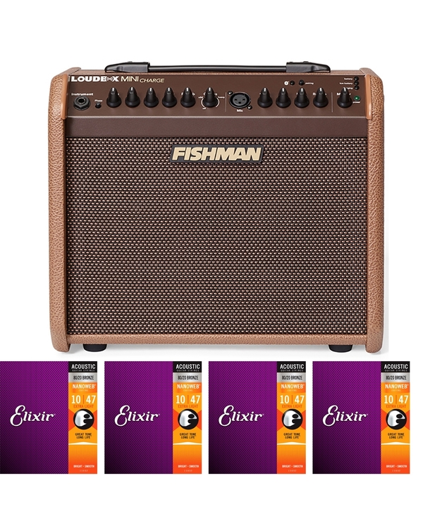 Fishman Loudbox MINI CHARGE Acoustic Guitar/Vocal Amplifier with 4 Sets of Elixir Strings