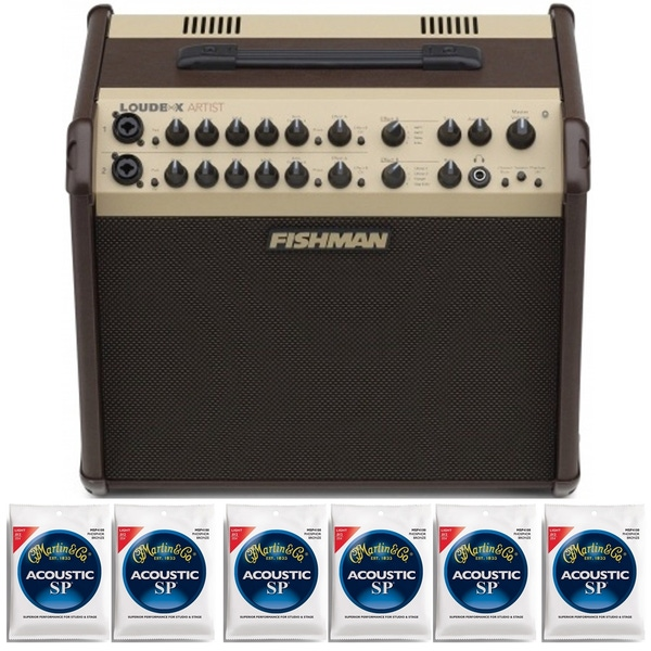 Fishman Loudbox ARTIST Acoustic Amplifier with 6 Sets of Martin Strings