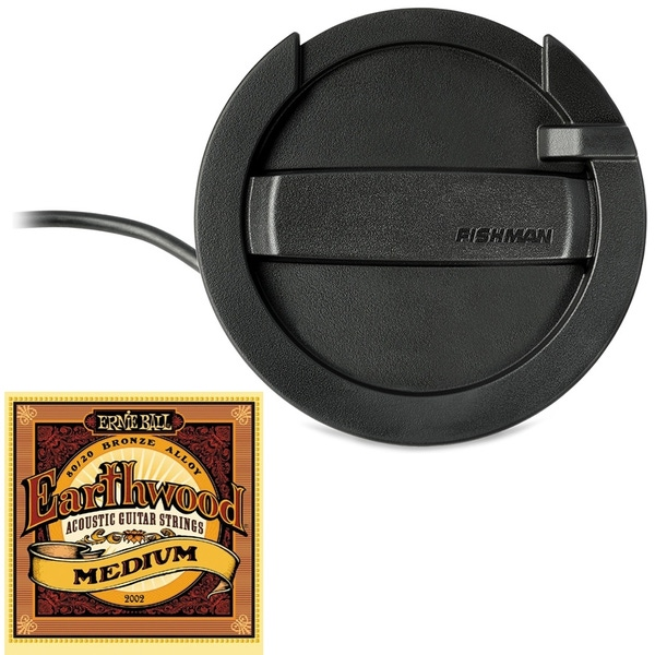Fishman Neo-Buster Single Coil Acoustic Guitar Soundhole Pickup/Feedback Buster with Ernie Ball Strings