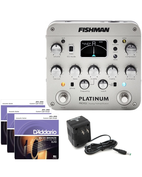 Fishman Platinum Pro EQ Analog PreAmp with 9V Power Supply and 3 Sets of Strings