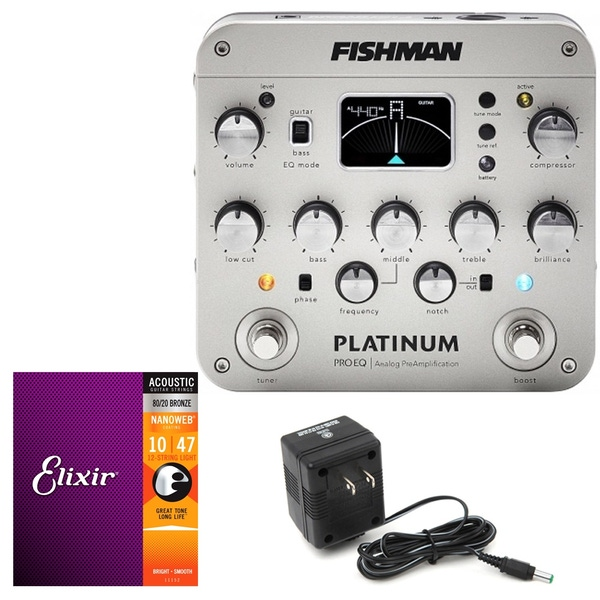 Fishman Platinum Pro EQ Analog PreAmp with 9V Power Supply and Elixir Strings