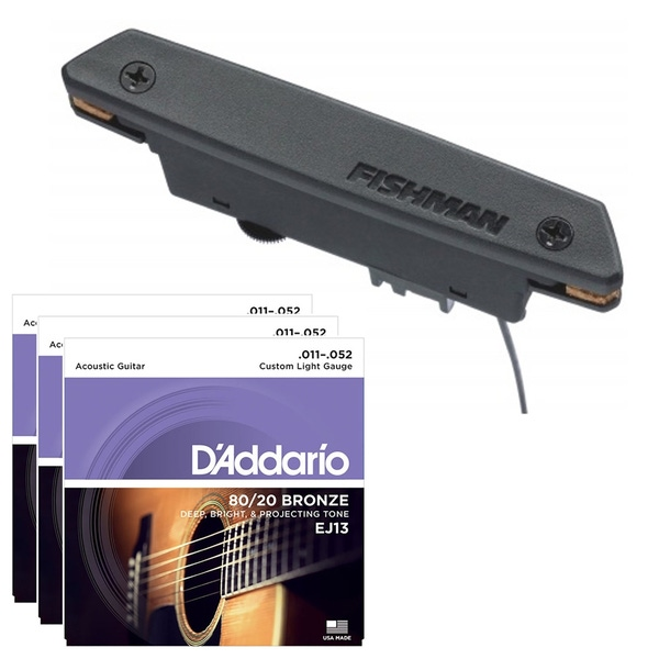Fishman PRO-REP-102 Rare Earth Magnetic Soundhole Pickup with 3-Pack of D'Addario Strings