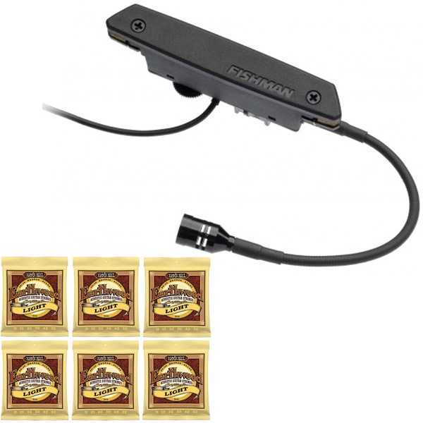 Fishman Rare Earth Blend Magnetic Soundhole Acoustic Guitar Pickup with 6 Sets of Strings