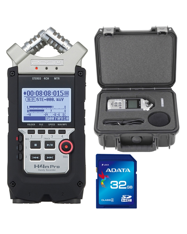 Zoom H4n Pro Handy Recorder with SKB Hard Case and 32GB SDHC Memory Card