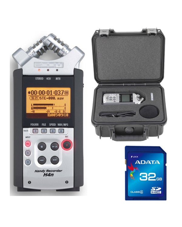 Zoom H4nSP Handy Recorder with SKB iSeries Case and 32GB SDHC U1 Memory Card