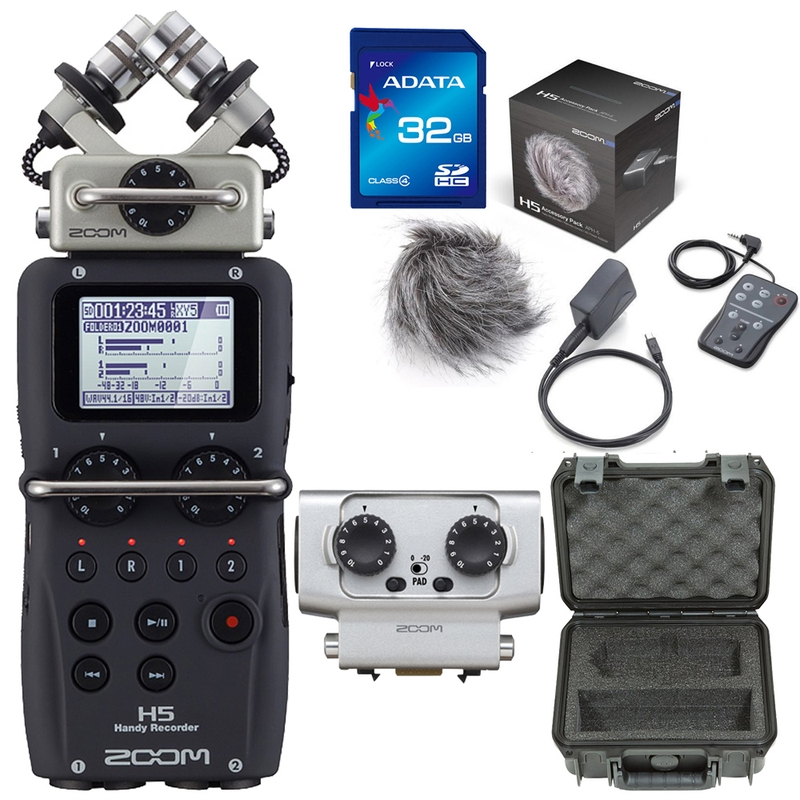 Zoom H5 Portable Handheld Recorder with Accessory Pack, 32GB Card, Case, and EXH6 Attachment