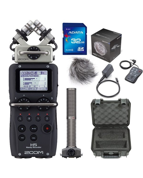 Zoom H5 Portable Handheld Recorder with Accessory Pack, 32GB Card, Case, and SSH6 Attachment