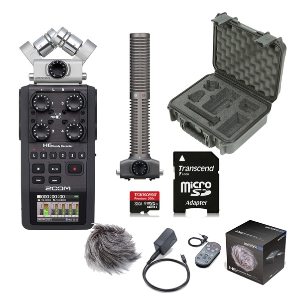 Zoom H6 Portable Handheld Recorder + SSH6 Shotgun Mic, Accessory Pack, Case