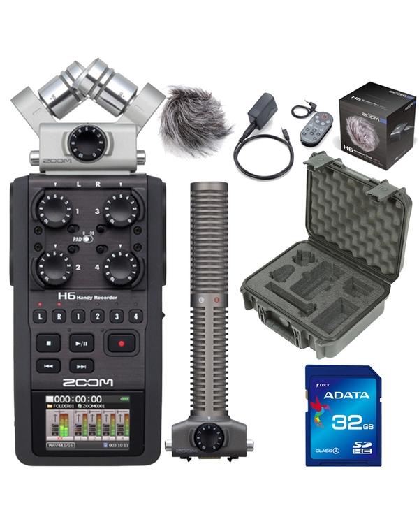 Zoom H6 Portable Handheld Recorder with Case, Accessory Pack, 32GB Card, and SSH6 Attachment