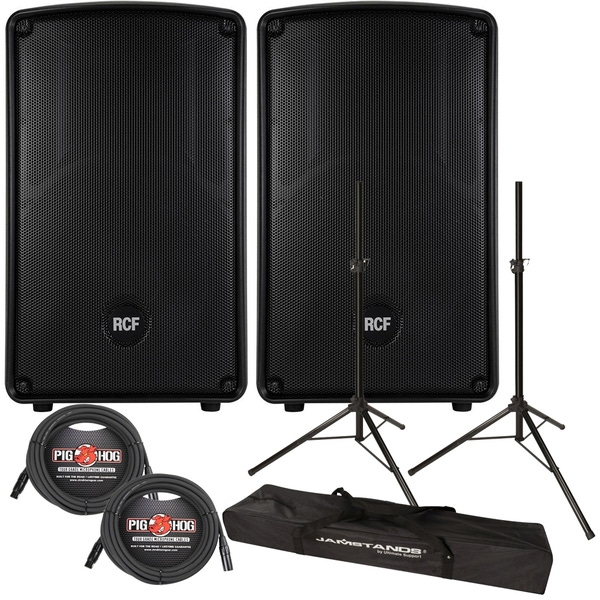 RCF HD12-A Active 2-Way 1200-Watt Bi-Amped Speaker Pair with Carry Bags, Stands, & Cables