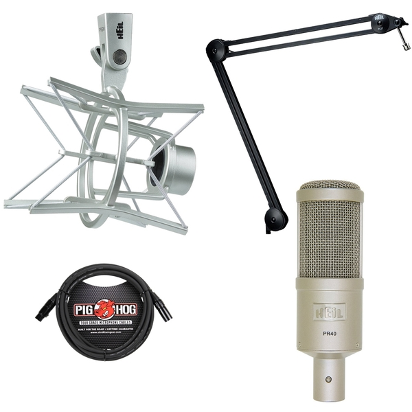 Heil Sound PR 40 Dynamic Studio Microphone Bundle with PRSM Shock Mount, PL2T Overhead Broadcast Boom, and XLR Cable