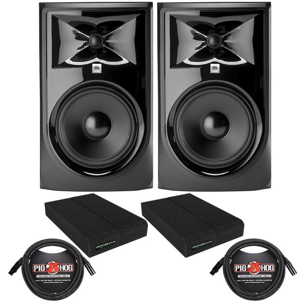 JBL 308P MkII Powered Studio Monitor Pair with Isolation Pads and XLR Cables