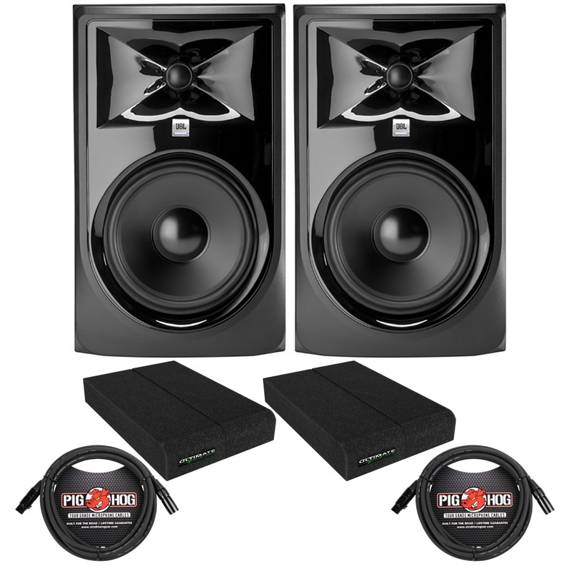 pitbull audio jbl 308p mkii powered studio monitor pair with isolation pads and xlr cables. Black Bedroom Furniture Sets. Home Design Ideas