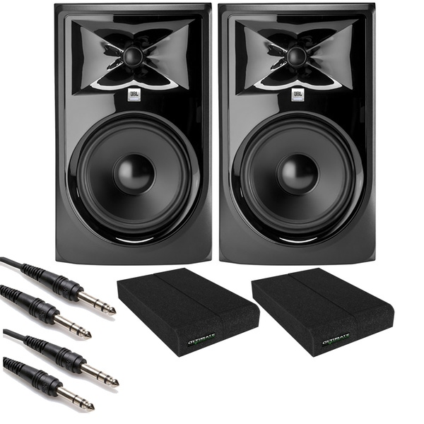 JBL 308P MkII Powered Studio Monitor Pair with Isolation Pads and TRS Cables