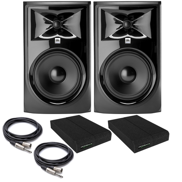 JBL 308P MkII Powered Studio Monitor Pair with Isolation Pads and TRS/XLR Cables