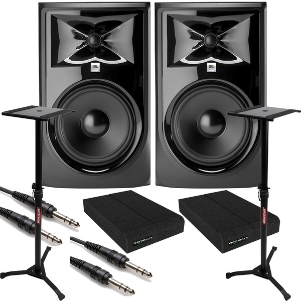JBL 308P MkII Powered Studio Monitor Pair with Isolation Pads, TRS Cables, and Stands