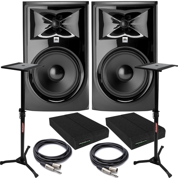 JBL 308P MkII Powered Studio Monitor Pair with Isolation Pads, TRS/XLR Cables, and Stands