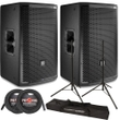 """JBL PRX812W 12"""" 2-Way Active PA Speaker Pair with Stands and Cables"""