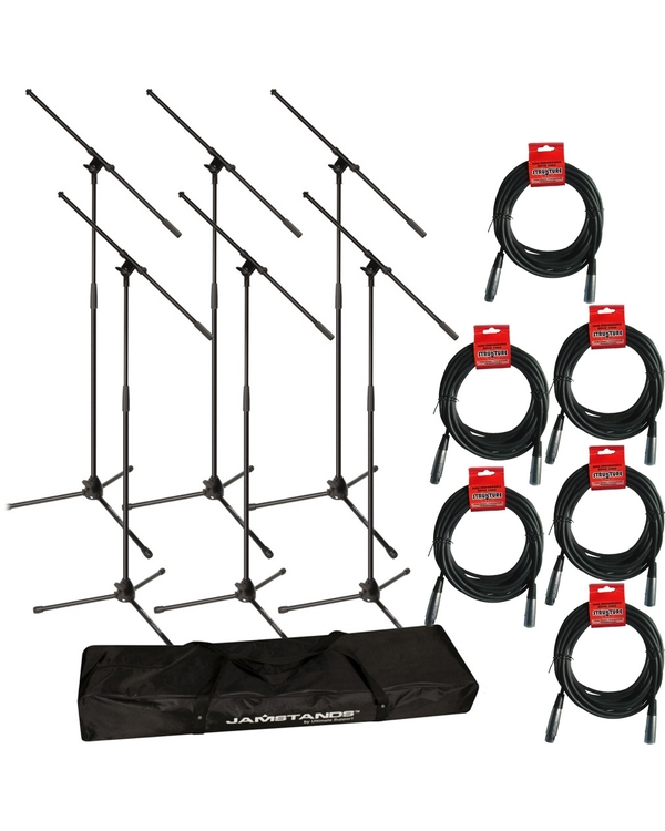Ultimate Support JS-MCFB6PK 6-Pack Tripod Mic Stand Bundle with 20' XLR Cables