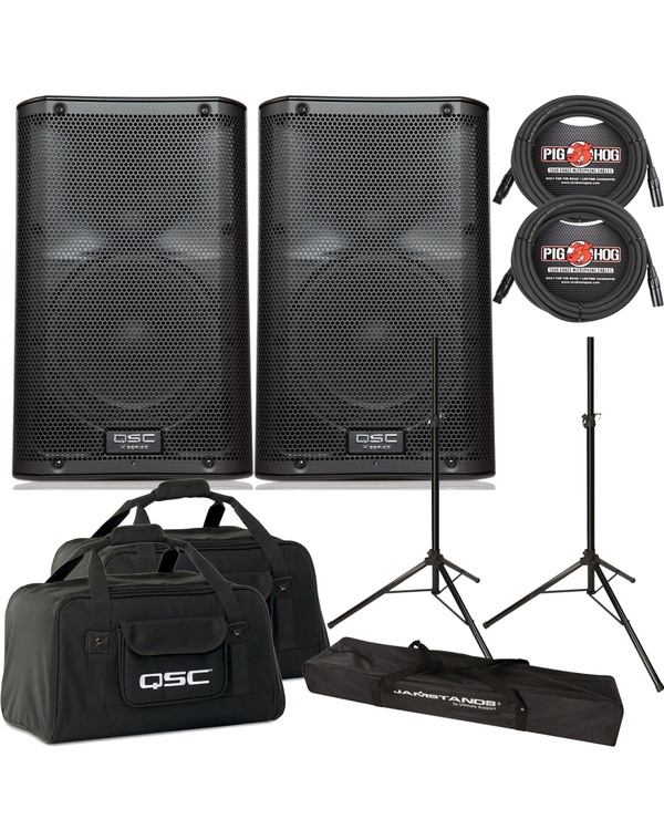 QSC K10 Active Speaker Pair with Tote Bags, Stands, & Cables