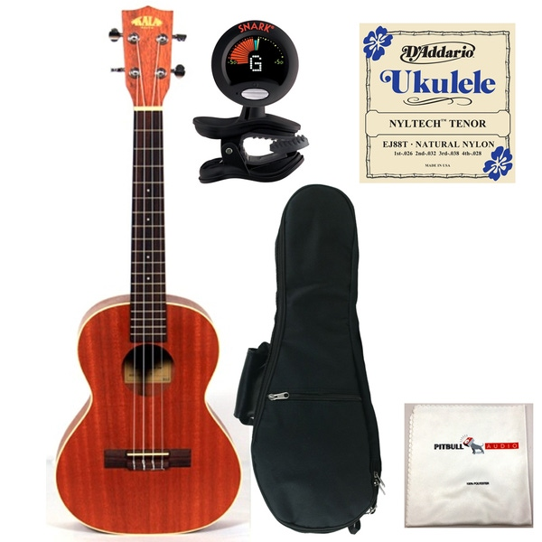Kala KA-T Tenor Ukulele with Gig Bag, Tuner, Strings, and Cloth