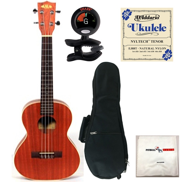 Kala KA-TE Electric Tenor Ukulele with Gig Bag, Tuner, Strings, and Cloth