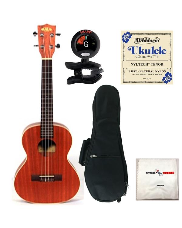 Kala KA-TE Electric Tenor Ukulele with Gig Bag, Tuner, Strings, and Cloth