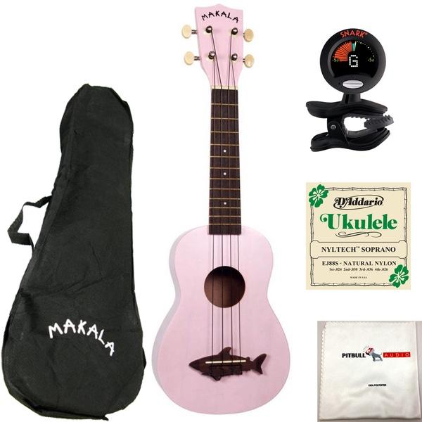 Kala MK-SS-PNK Makala Soprano Shark Ukulele in Shell Pink with Bag, Tuner, Strings, and Cloth