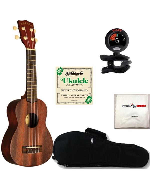 Kala MK-S Makala Soprano Ukulele with Gig Bag, Tuner, Strings, and Cloth