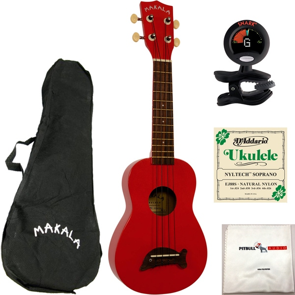 Kala MK-SD-CAR Makala Dolphin Ukulele in Candy Apple Red with Bag, Tuner, Strings, and Cloth