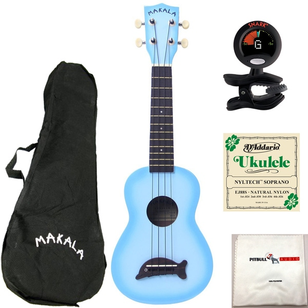 Kala MK-SD-LBLBURST Makala Dolphin Ukulele in Light Blue Burst with Bag, Tuner, Strings, and Cloth