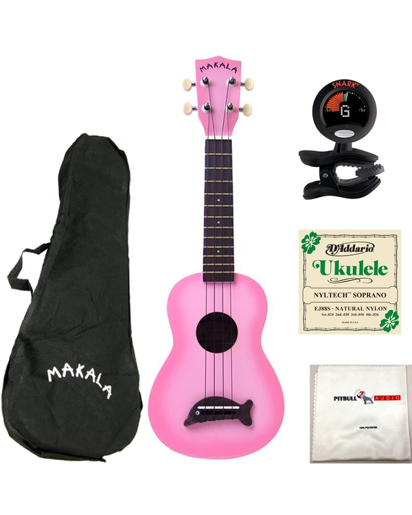Kala MK-SD-PKBURST Makala Dolphin Ukulele in Pink Burst with Bag, Tuner, Strings, and Cloth
