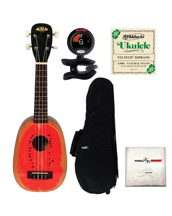 Kala KA-WTML Watermelon Soprano Ukulele with Gig Bag, Tuner, Strings, and Cloth