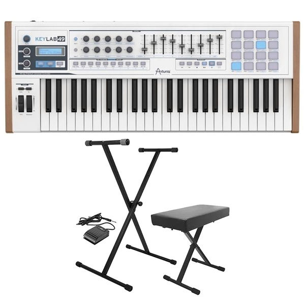 Arturia Keylab 49 MIDI Keyboard Controller with Analog Lab Software with Stand, Bench, & Sustain Pedal