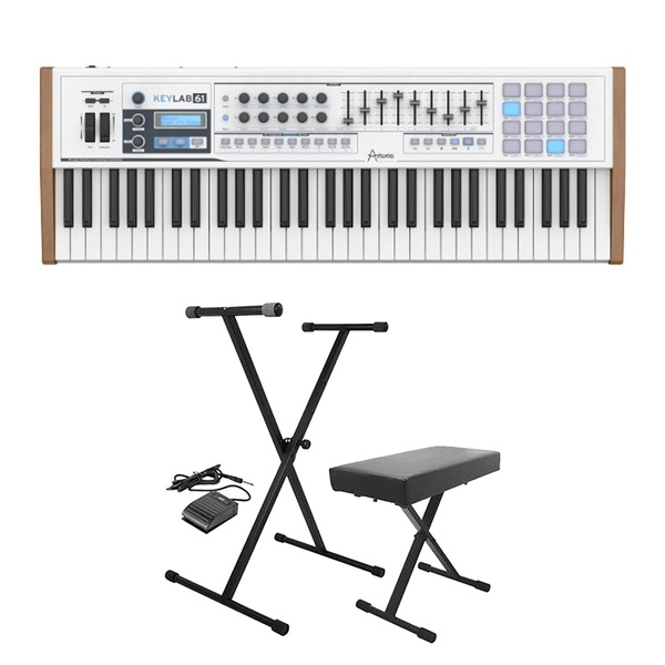 Arturia Keylab 61 MIDI Keyboard Controller with Analog Lab Software with Stand, Bench, & Sustain Pedal