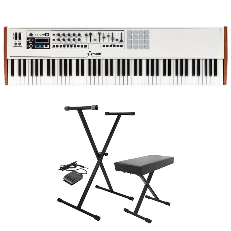 Arturia Keylab 88 Hammer-Action Hybrid 88-Key Controller Keyboard with Stand, Bench, & Sustain Pedal