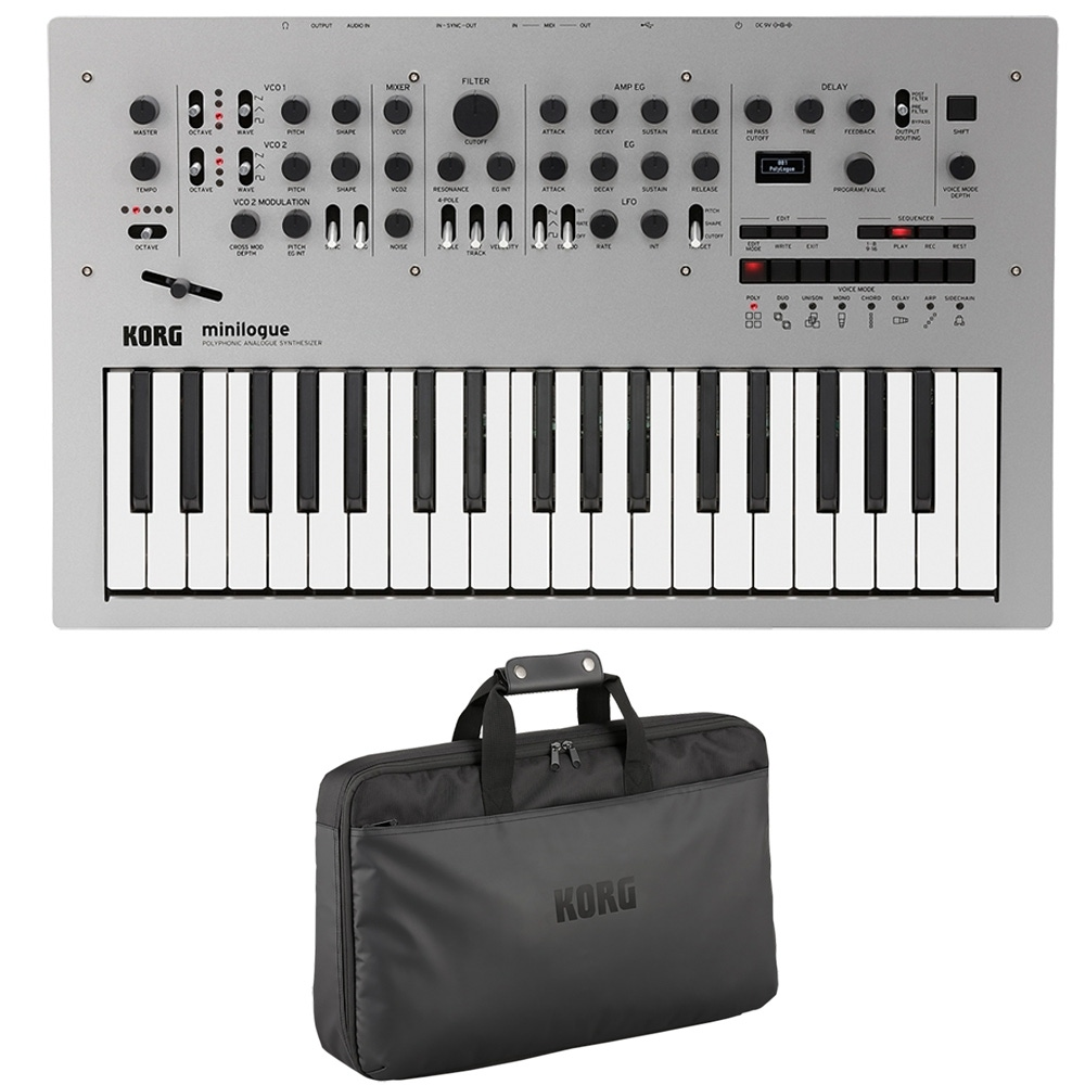 pitbull audio korg minilogue 4 voice polyphonic analog synthesizer and custom case. Black Bedroom Furniture Sets. Home Design Ideas