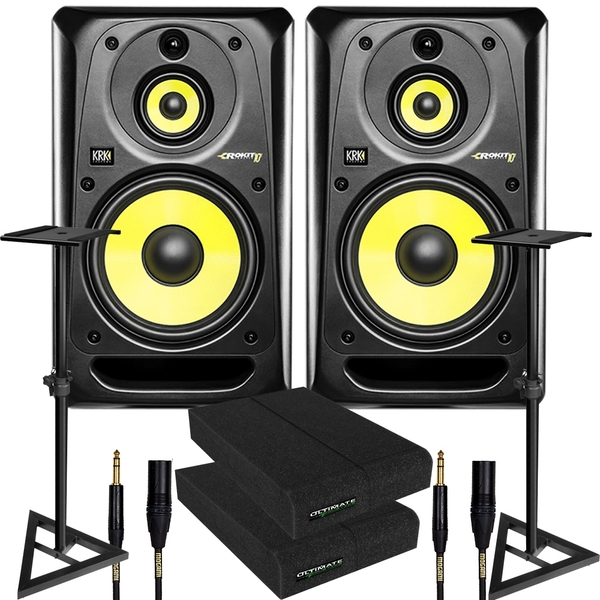 KRK RP103G3 ROKIT 10-3 G3 Studio Monitor Pair with Mogami Cables, Stands, & Pads