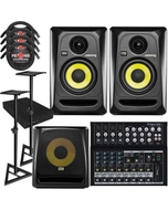 "KRK RP4G3 ROKIT 4 G3 4"" Studio Monitor Pair Black with 10S V2 Sub, Mackie Mixer, Stands, Cables, and Isolation Pads"
