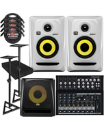 "KRK RP4G3 ROKIT 4 G3 4"" Studio Monitor Pair White with 10S V2 Sub, Mackie Mixer, Stands, Cables, and Isolation Pads"