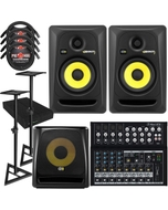 "KRK RP5G3 ROKIT 5 G3 5"" Studio Monitor Pair Black with 10S V2 Sub, Mackie Mixer, Stands, Cables, and Isolation Pads"