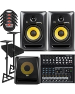 "KRK RP6G3 ROKIT 6 G3 6"" Studio Monitor Black Pair with 10S V2 Sub, Mackie Mixer, Stands, Cables, and Isolation Pads"