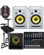 "KRK RP6G3 ROKIT 6 G3 6"" Studio Monitor White Pair with 10S V2 Sub, Mackie Mixer, Stands, Cables, and Isolation Pads"